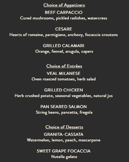 Ravello Magical Dining Month Menu