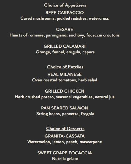Ravello Magical Dining Month Menu