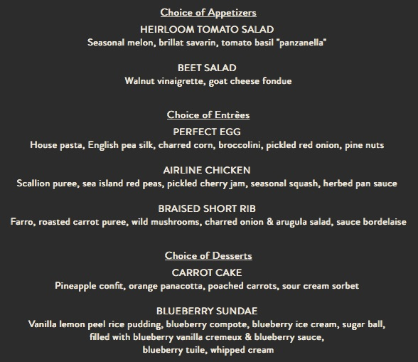 bluezoo by Todd English Magical Dining Month Menu
