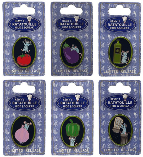 Remy's Ratatouille Hide and Squeak Pins -- Your Suprise for Helping Chef Remy!