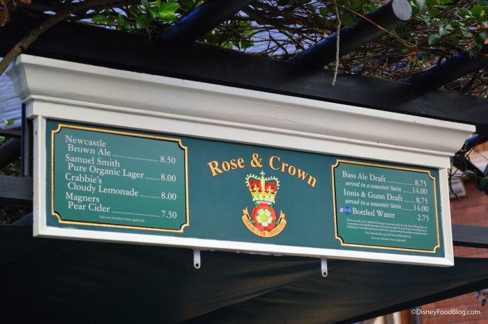 Rose and Crown Outside Bar Menu