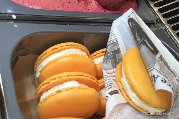 Peach Macaron Ice Cream Sandwich