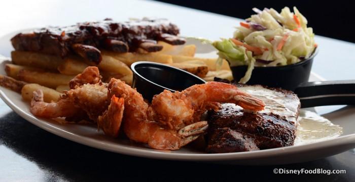 Ribs, Steak, and Shrimp Trio