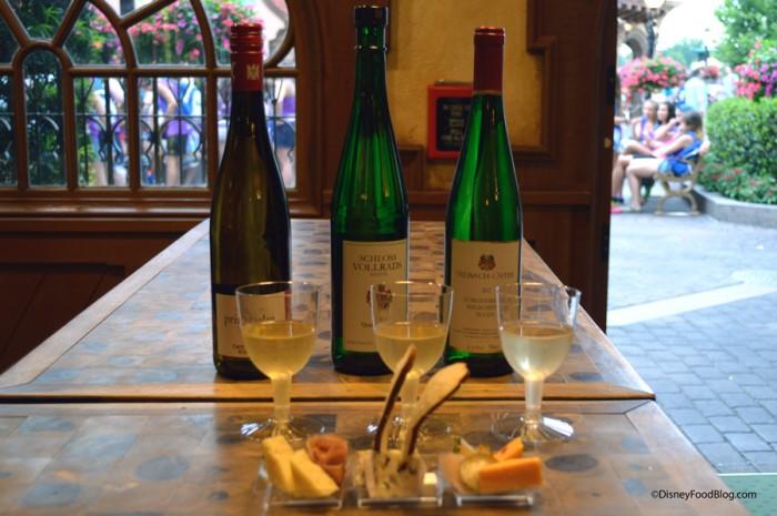 White Wine Flight and Cheese Plate