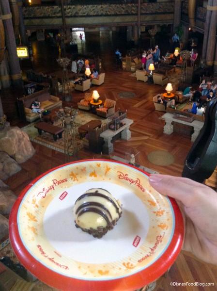 Enjoying a Zebra Dome In The Lobby At Animal Kingdom Lodge