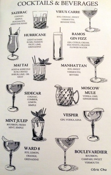 Club 33 Lounge Cocktail Menu