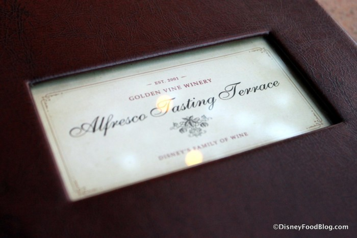 Alfresco Tasting Terrace Menu