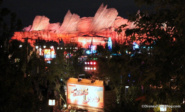 View of Cars Land at night