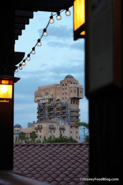 View of The Tower of Terror from Alfresco Tasting Terrace