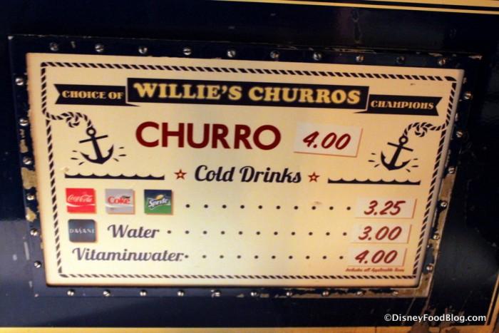 Churro Menu at Willie's
