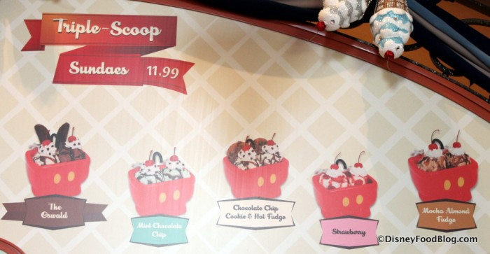 Triple Scoop Sundaes Menu