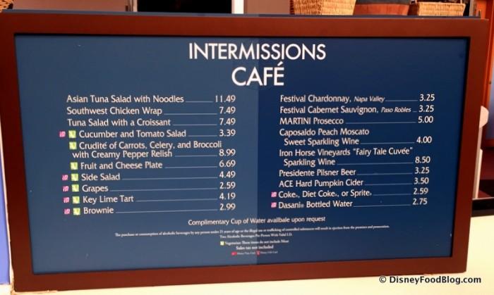 Intermissions Cafe Menu