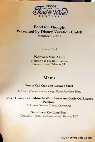 Food for Thought Menu -- Click to Enlarge