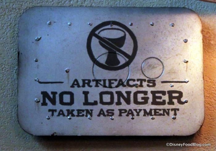 Jock Lindsey's No Artifacts Sign