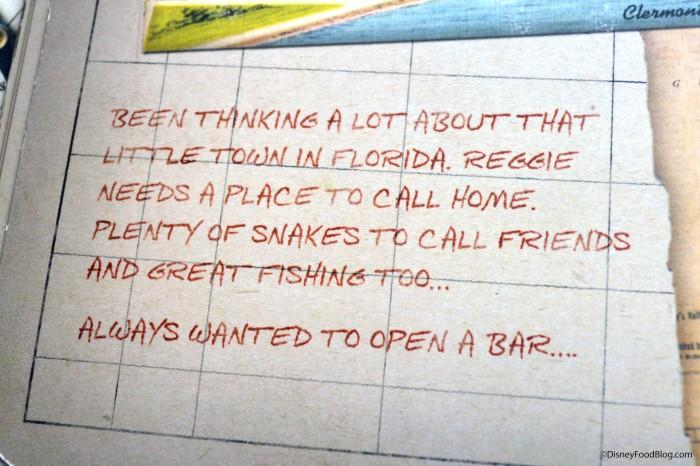 Backstory in the Hangar Bar menu