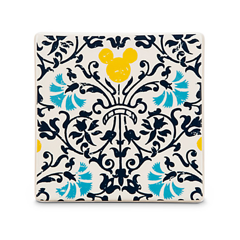 Mickey Mouse Icon Indigo Tile -- Floral