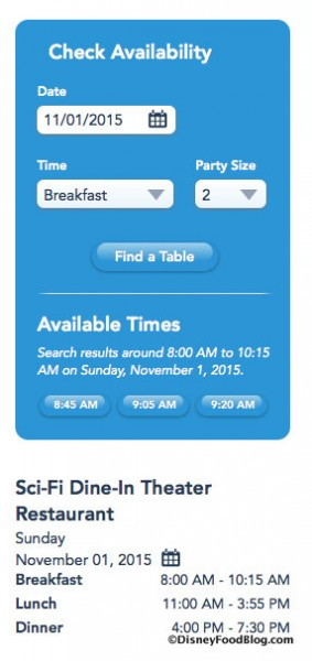 Screenshot for Breakfast Reservations at Sci-Fi Dine-In