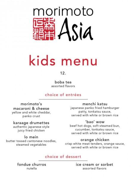 Kids Menu ©Morimoto Asia