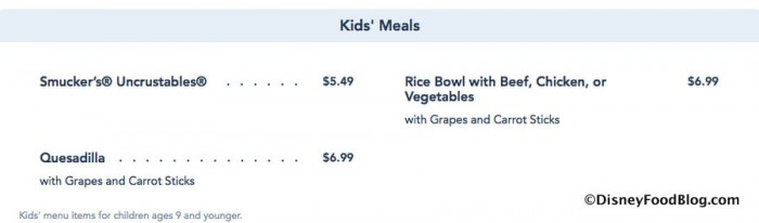 Screenshot of New Kids Menu at Pecos Bill's