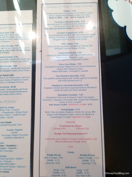 The Fountain Shakes and Malts Menu