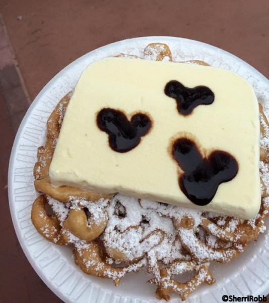 Funnel cake is better with ice cream!