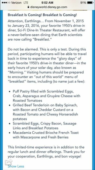 Sci-Fi Dine-In Breakfast Details