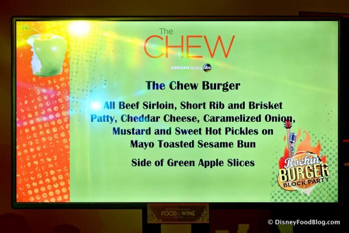 The Chew Burger Description