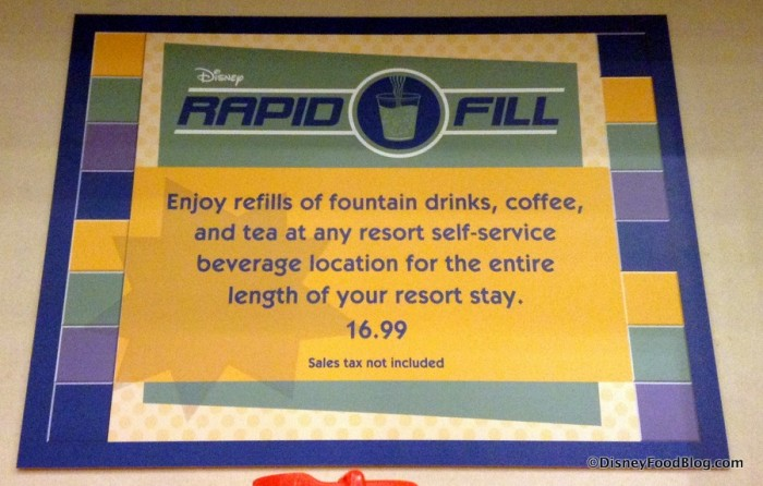 Refillable Resort Mug Price Sign