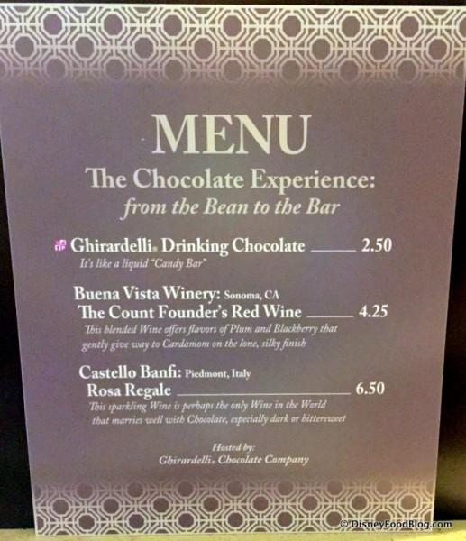 The Chocolate Bar Menu -- Click to Enlarge