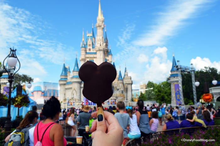 Enjoying a Mickey Premium Ice Cream Bar on Main Street USA