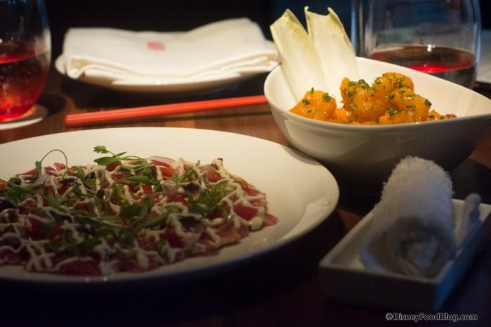 Tuna Pizza and Rock Shrimp Tempura