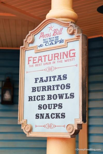 Pecos Bill Tall Tale Inn and Cafe Outside Menu