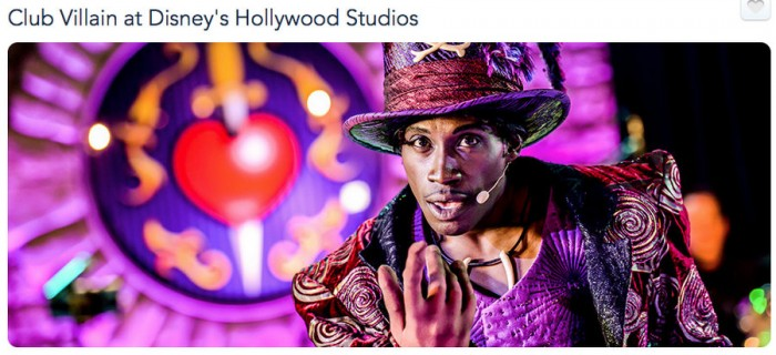 Club Villain Screenshot on Walt Disney World website (Image ©Disney)