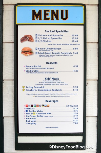 Fairfax Fare Menu