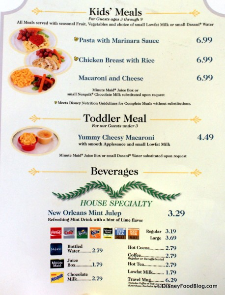 French Market Menu