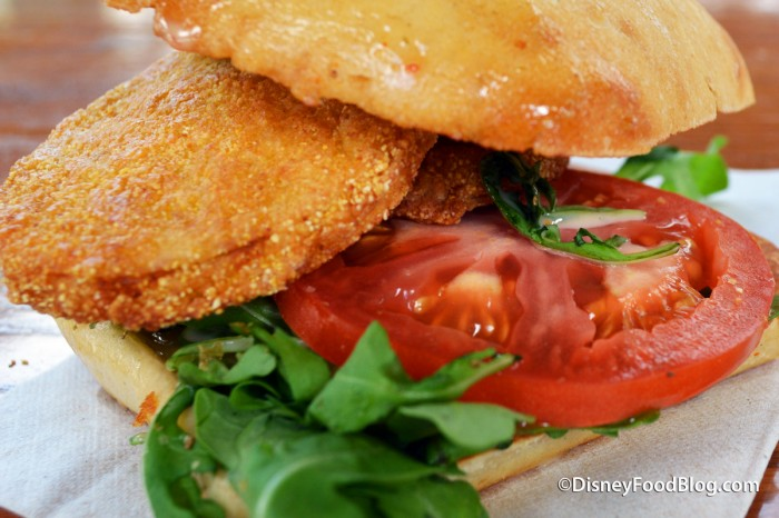 Closeup of the Fried Green Tomato Sandwich