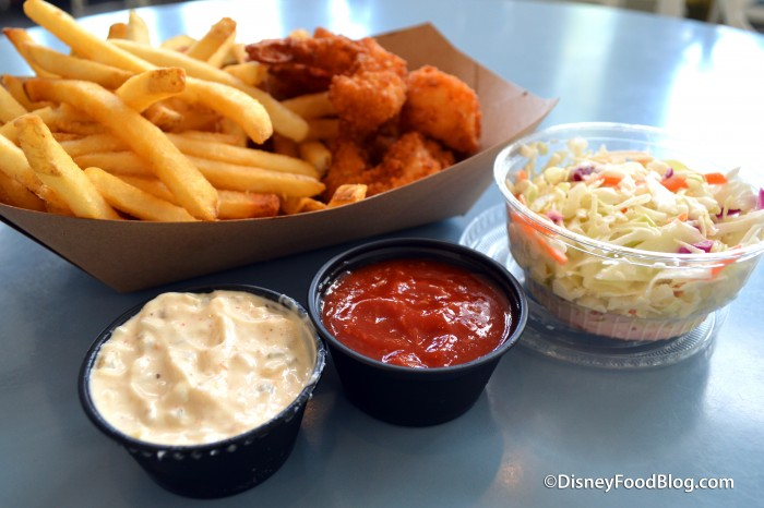 Fried Shrimp with Dipping Sauces and Coleslaw