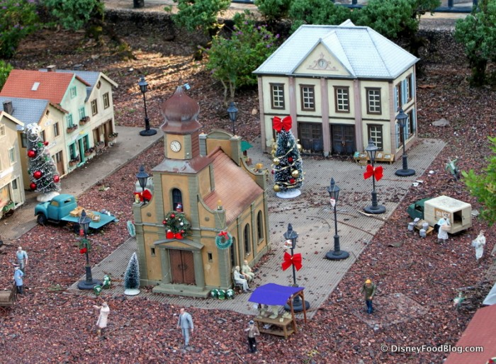 Check Out the Holiday Decorations in the Germany Pavilion's Train Town Square!