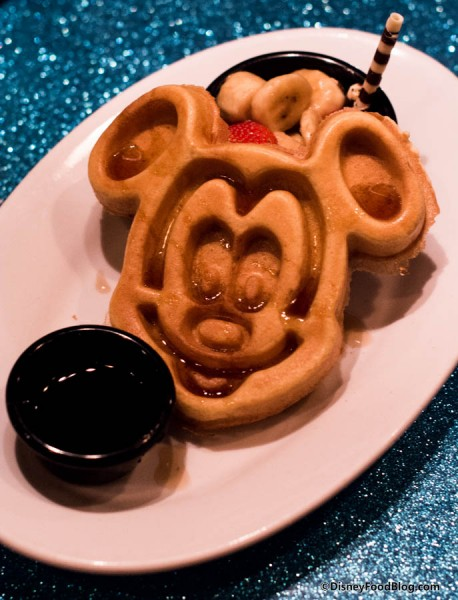 Micky Mouse Waffle, Fruit Cup and Syrup