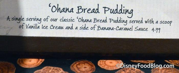'Ohana Bread Pudding On The Menu