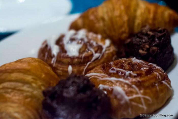 Cinnamon Buns, Chocolate Chocolate Chip Mini Muffins and Croissants