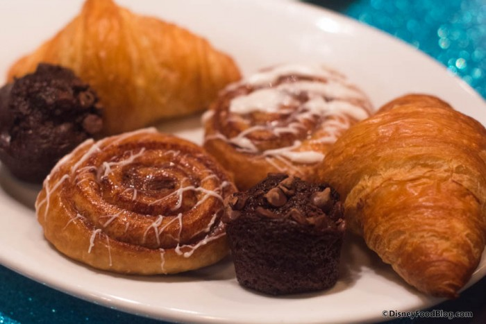 Cinnamon Buns, Chocolate Chocolate Chip Mini Muffins and Croissants