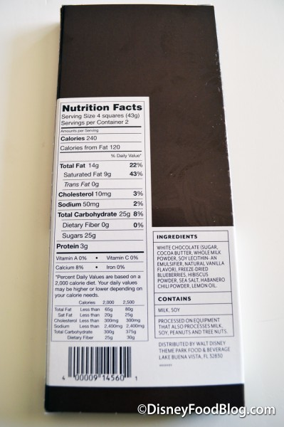 The Donald Chocolate Bar Nutritional Facts