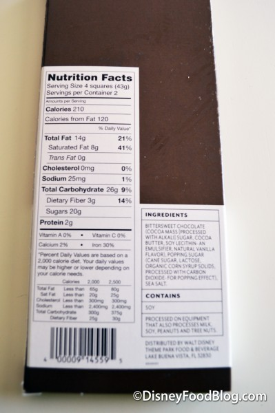 The Goofy Chocolate Bar Nutritional Facts