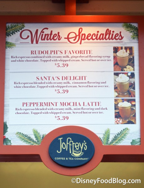 Winter Specialties Menu