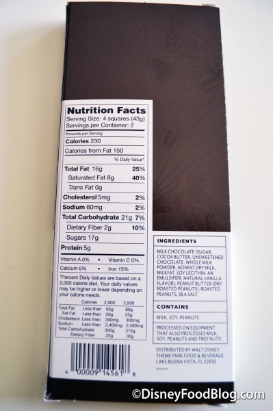 The Pluto Chocolate Bar Nutritional Facts