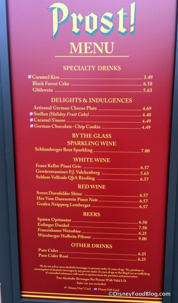 Prost Menu in Epcot's Germany