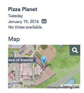 Screenshot of Pizza Planet Calendar on the Disney World website