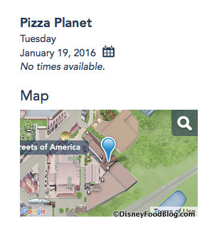 Screenshot of Pizza Planet Calendar on the Disney World website