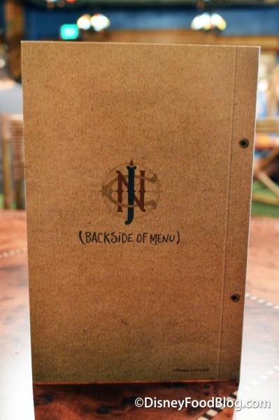 Backside of the Dessert Menu cover